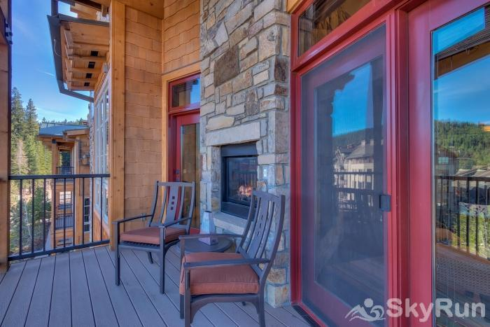 Sierra Range Luxury Condo at Northstar Lodge Covered Balcony with Fireplace